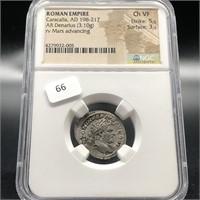 ROMAN EMPIRE SILVER DENARIUS NGC VF AD 198