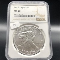 2019 SILVER EGALE  NGC MS70