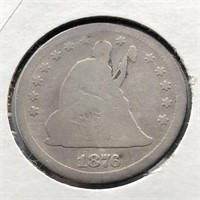 1876 SEATED QUARTER  AG