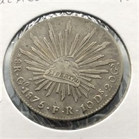 1875 MEXICO SILVER 8 REALS  VF