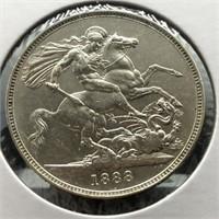 1888 G BRIT SILVER CROWN XF DETAILS