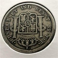 1800 BOLIVIA  8 REALS   VF