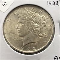 1922 PEACE DOLLAR  AU