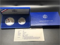 PROOF ELLIS ISLAND SILVER DOLLAR & HALF W BOX PAPE