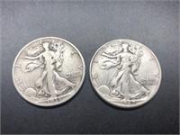 TWO WALKING HALF DOLLARS