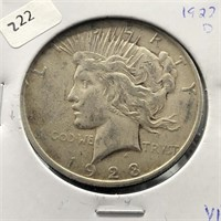 1923 D PEACE DOLLAR  VF