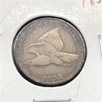 1857 FLYING EAGLE CENT  F