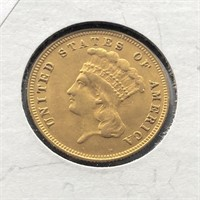 1888 3 DOLLAR GOLD COIN  JEWELRY GRADE