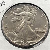 1942 WALKING HALF DOLLAR  AU