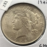 1922 PEACE DOLLAR CHOICE BU