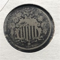 1867 SHIELD NICKEL  G