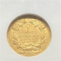 1855 TYPE 2 GOLD DOLLAR NGC AU 53 RARE