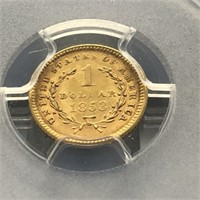 1853 GOLD DOLLAR PCGS MS61