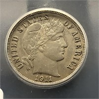 1911 Barber Dime 10C ICG AU 58