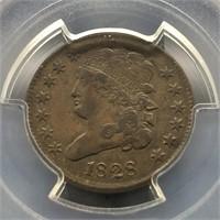 1828 1/2 CENT  PCGS XF 40  13 STARS