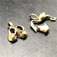 14K STORK AND 14K BABY BOOTIES