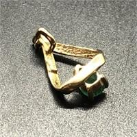 14K GOLD EMERALD & DIAMOND PENDENT