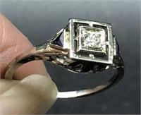 PLATINUM DIAMOND / SAPPHIRE ENGAGEMENT RING 5 1/2