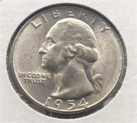 1954 S WASHINGTON QUARTER  GEM