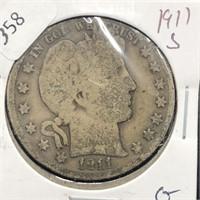 1911 S BARBER HALF DOLLAR  G