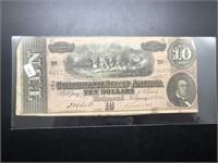 1864 TEN DOLLAR CONFEDERATE NOTE