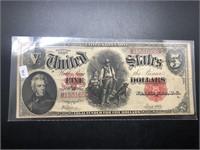 1907 5 $ LEGAL TENDER   VF