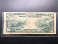 1914 10 DOLLAR FEDERAL RESERVE NOTE  VF