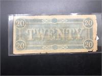 1864 20 $ CONFERERATE NOTE