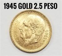 1945 Gold Mexico 2 1/2 Peso