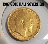 1907 1/2 Sovereign Of England Gold