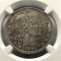 1894 Barber Half 50C NGC MS 66, VIBRANT COLOR