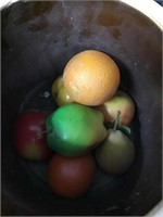Crock chipped and artificial fruit