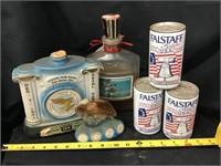 Falstaff cans, decanters
