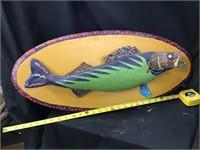 Michael Hapner Folk Art, Spots Up Stream Walleye,