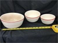 Three piece nesting bowls set with some crazing