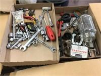 Tools including sockets, screwdriver, Two flats