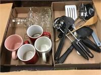 Coffee mugs, kitchen utensils, two flats