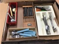 Knife set, flatware, two flats