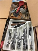 Flatware, kitchen utensils, two flats