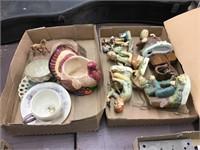 Figurines, horse ashtray, tea cups, turkey
