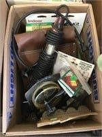 Motor oil, screws, nails, trouble light, mailing