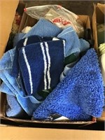 Towels and bathroom rugs, gloves Box lot