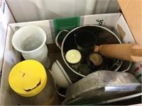 Square baking pan, vase, cups, rolling pin, stock
