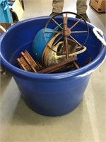 Tub with baskets, baseball helmet, small spinning