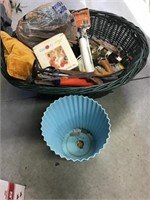 Waste bin, wicker basket, saw, chopper, pillow,
