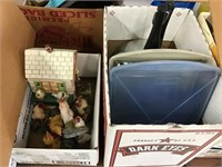 Baking pans, pressure cooker, chicken figurines,