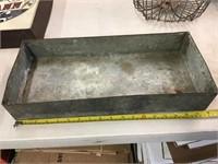 Galvanized tray, 18 x 8 x 3
