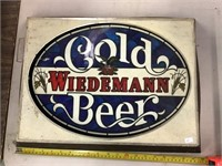 Wiedemann cold beer advertising sign, 20 x 15 x 2