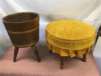 Upholstered foot rest and plant stand