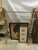 Brass quilt rack and two pictures